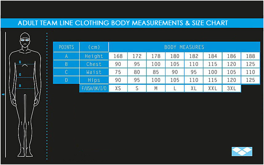 Adult Arena Team Line Clothing Size Chart