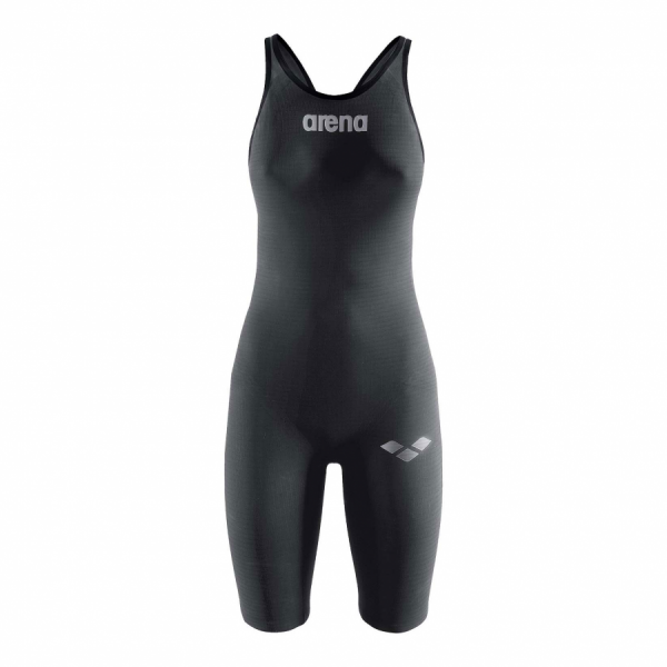 Arena Carbon Pro Open Back Short Leg Suit - Dark Grey Front
