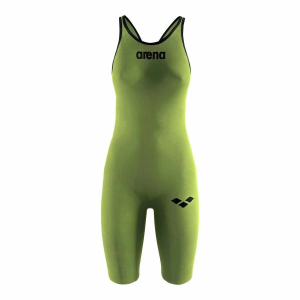 Arena Carbon Pro Open Back Short Leg Suit - Acid Green FRONT