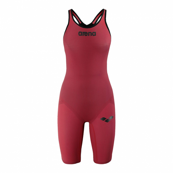 Arena Carbon Pro Closed Back Short Leg Suit - Red FRONT