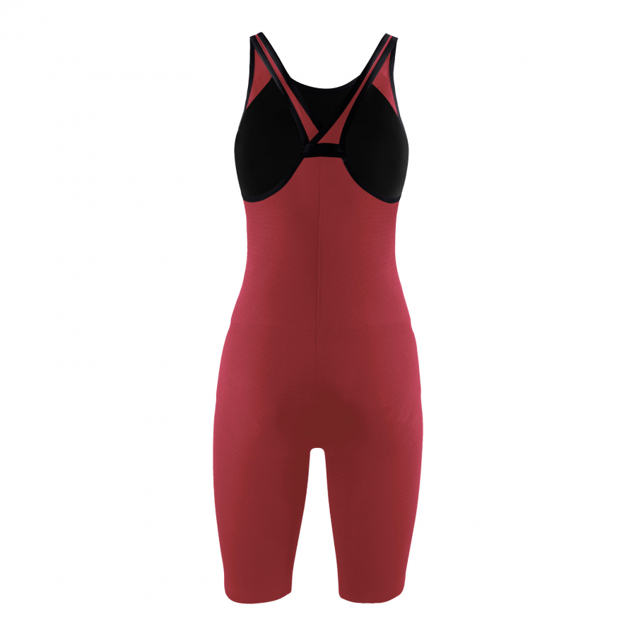 Arena Carbon Pro Closed Back Short Leg Suit - Red BACK