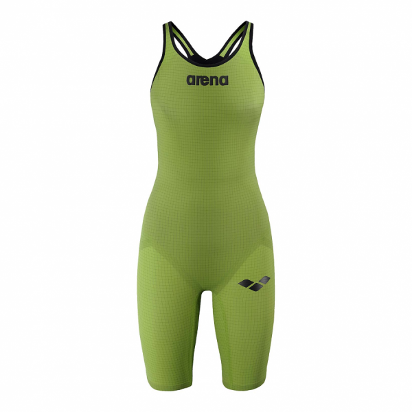 Arena Carbon Pro Closed Back Short Leg Suit - Acid Green FRONT