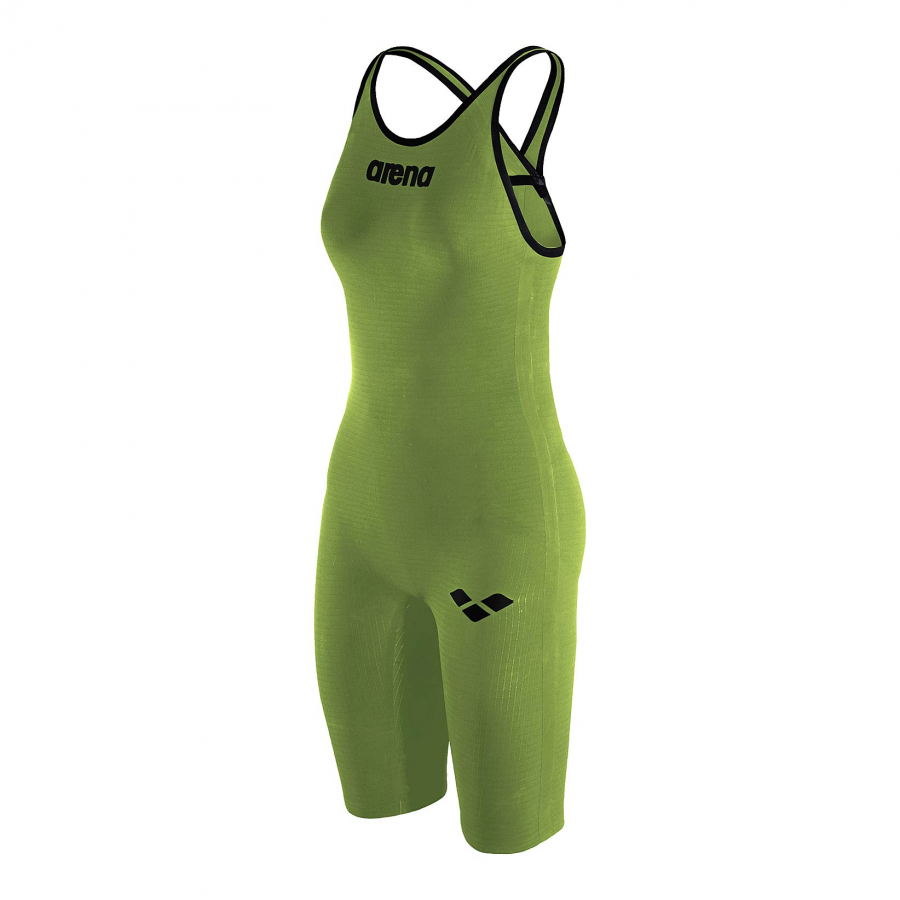 Arena Carbon Pro Closed Back Short Leg Suit - Acid Green  SIDE 1