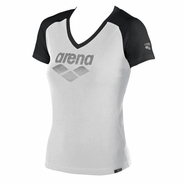 Ladies Arena Curby T Shirt -White / Black