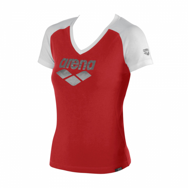 Ladies Arena Curby T Shirt - Red / White