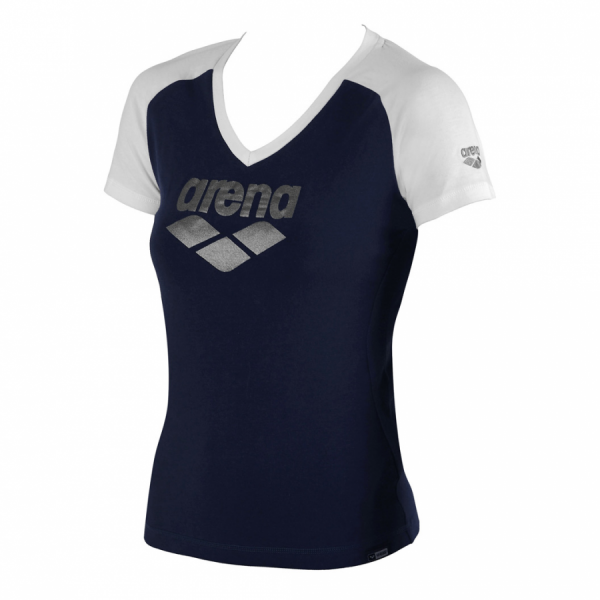 Ladies Arena Curby T Shirt - Navy / White