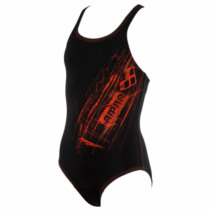 Arena Girls Swimsuit - Drawy Black