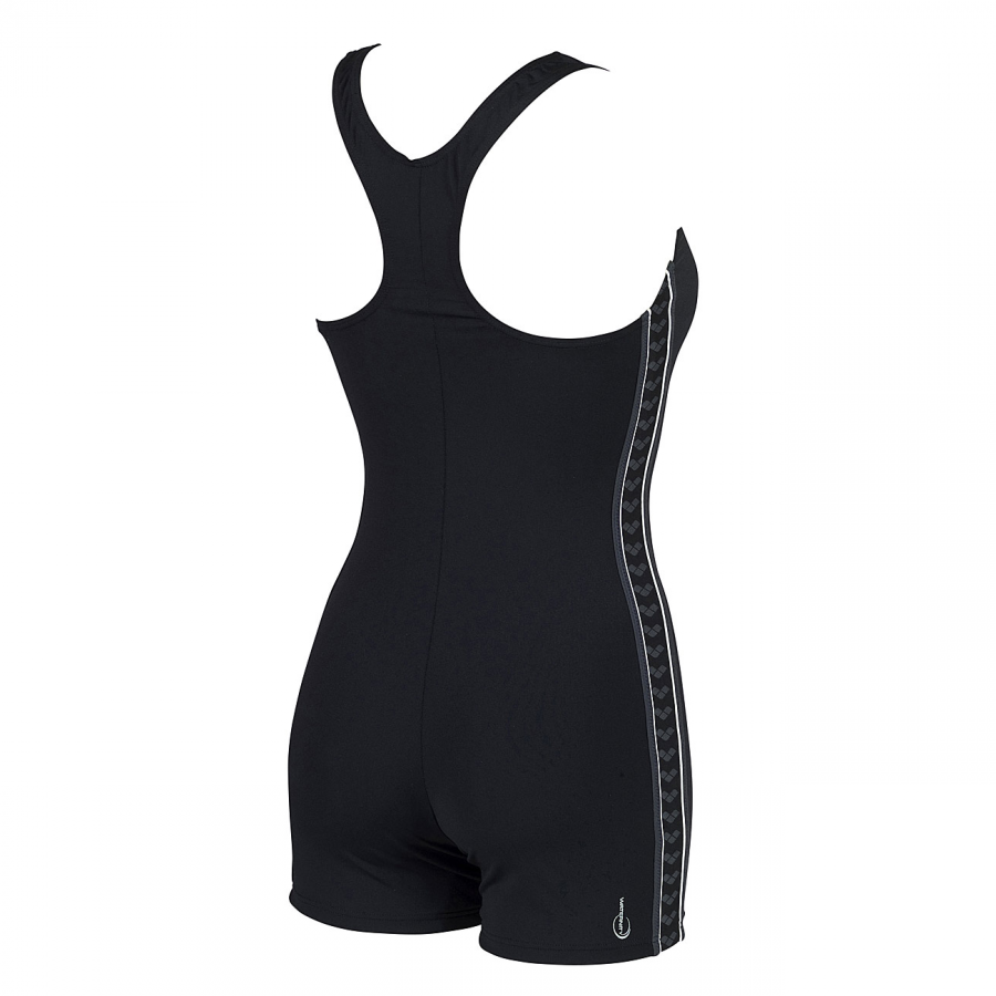 Arena Fadette swimsuit with legs in black, deep grey and white (Front)