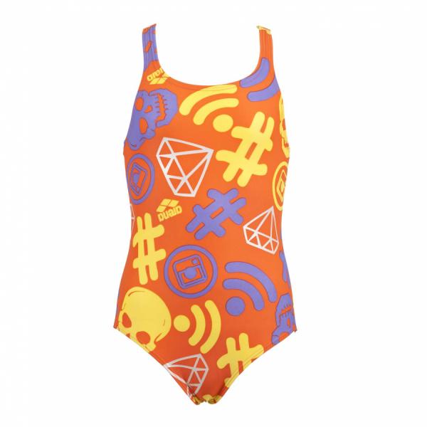 Buy Arena Girls 'Fancy' Orange Swimsuit