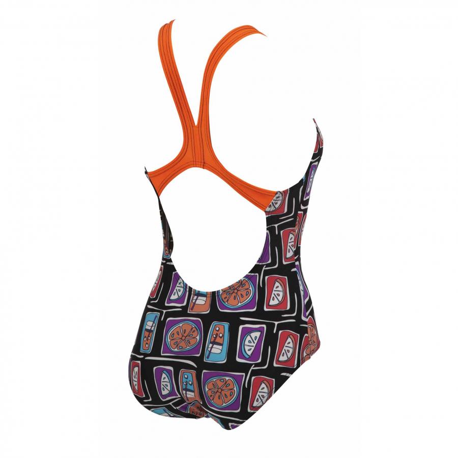 Ladies Fruit Black / Tropical Orange Swim Costume
