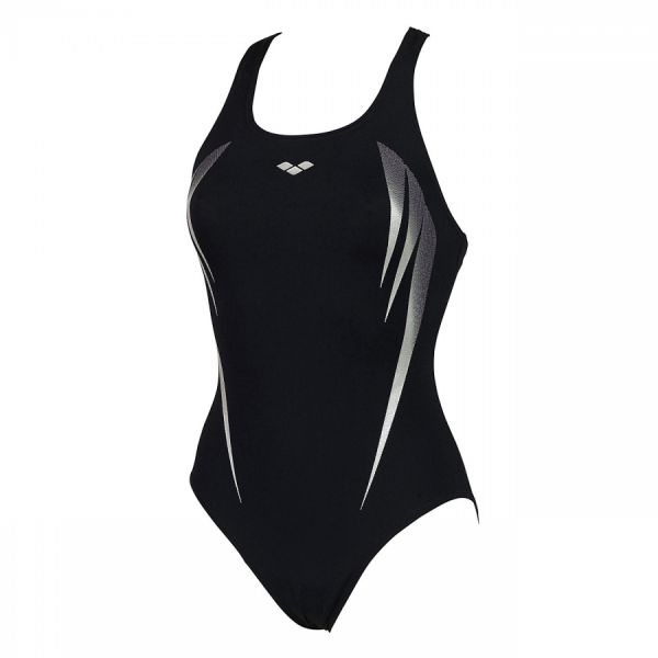 Arena Madir swimsuit in black with silver detailing (Front)