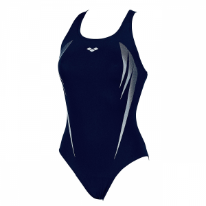 Arena Madir swimsuit in denim blue with white detailing (Front)