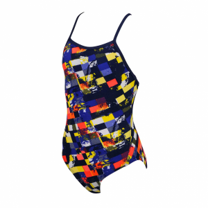 Arena Mahogany Girls Mulitcoloured Swimsuit (Blue)  Front
