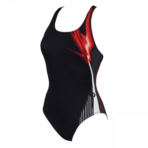 Arena Manic Black, Red and White Swimming Costume (Front)