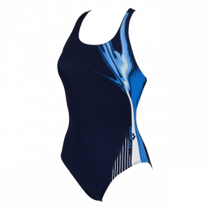 Arena Manic Denim, Blue and White Swimming Costume (Front)