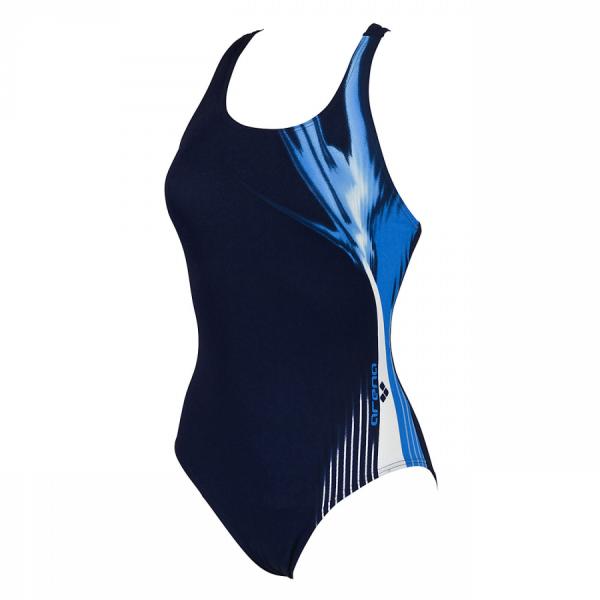 Arena Manic Denim, Blue and White Swimming Costume (Front)