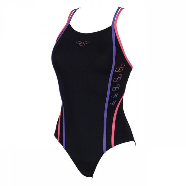 Arena Swimwear Marcelline Black, Petunia and Dahlia Costume (Front)
