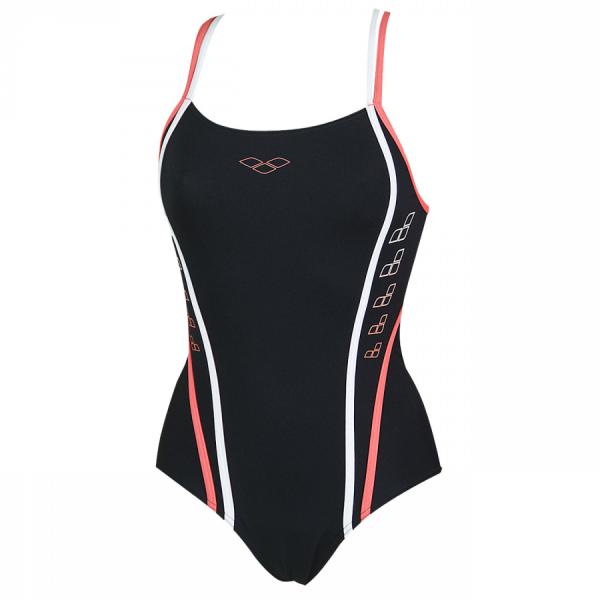 Arena Swimming Costume - Marcelline (Black / Geranio) Front