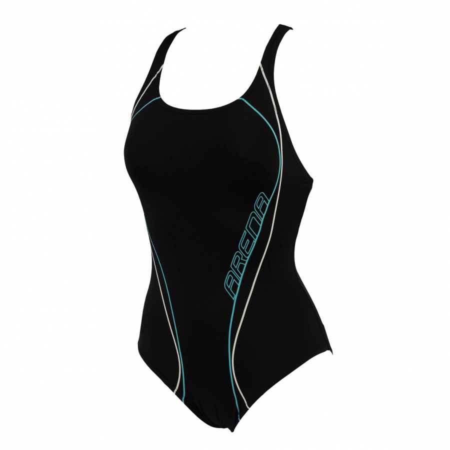 Arena Ladies Meander Swimsuit with Bra (Black)