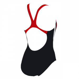 Arena Michel swimsuit with black, tulip red and white detailing (Back)
