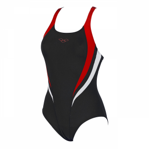 Arena Michel swimsuit with black, tulip red and white detailing (Front)