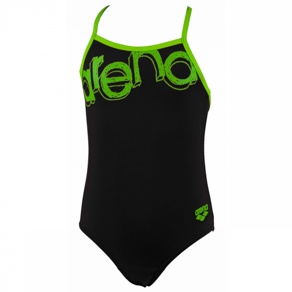 Arena Moxito Junior Swimsuit - Black / Green Front