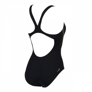 Arena Myfair swimsuit in black with green and white detailing (Back)