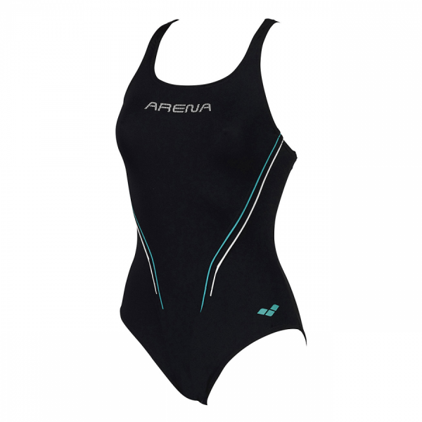 Arena Myfair swimsuit in black with green and white detailing (Front)