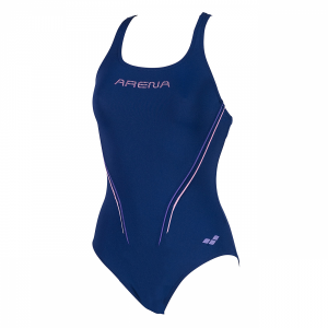 Arena Myfair swimsuit in indigo blue with dahlia and pink detailing (Front)