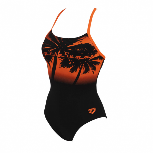 Ladies Rita Black And Tropical Orange Swimming Costume
