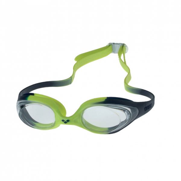 Arena Spider Junior Swimming Goggles -  Citronella and navy frame with clear lens.