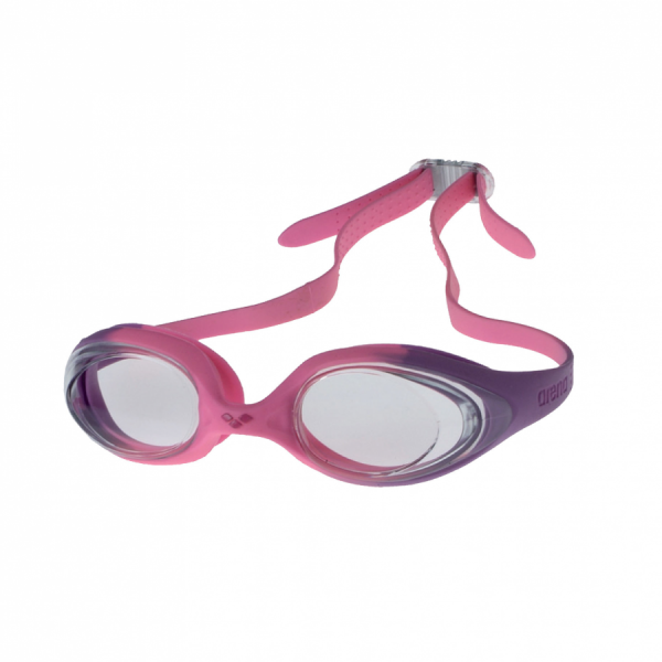 Arena Spider Junior Swimming Goggles -  Pink and Violet Frame with Clear Lens