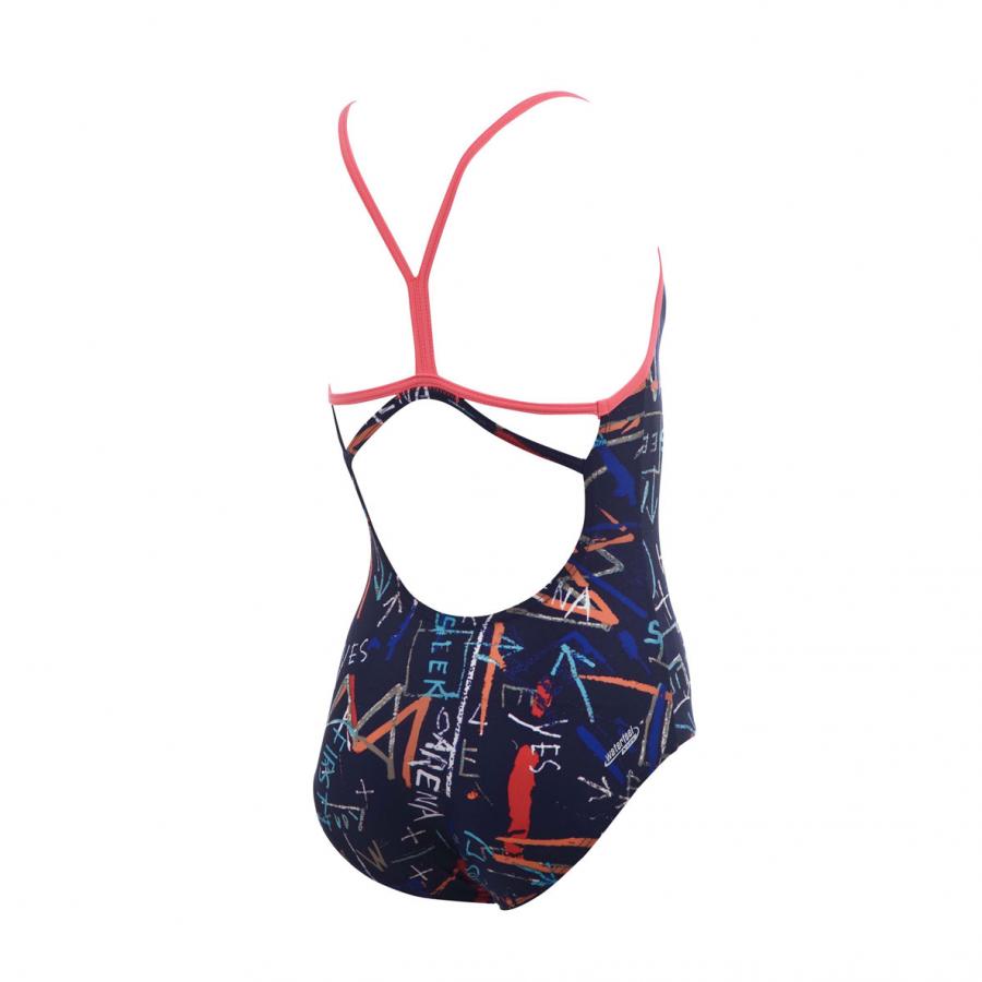 Arena Stamp Girls Junior Swimsuit - Navy