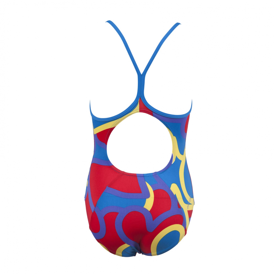 Arena 'Tickers' Girls Swimsuit - Red / Blue