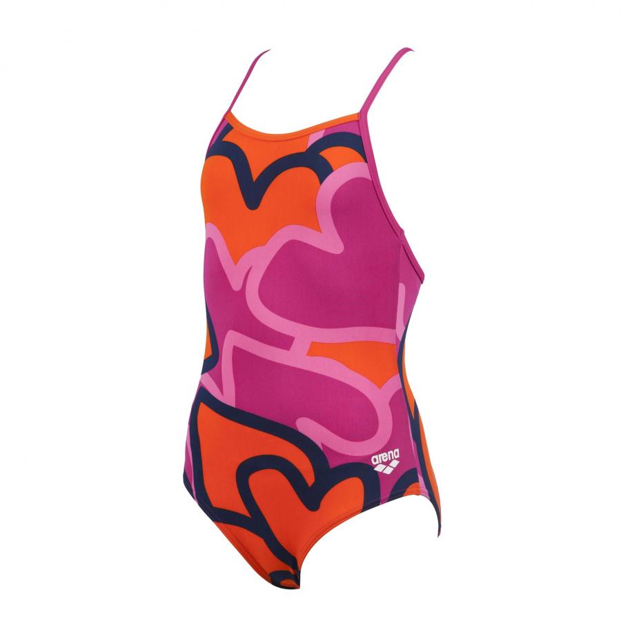 Arena 'Tickers' Girls Swimsuit - Orange / Pink