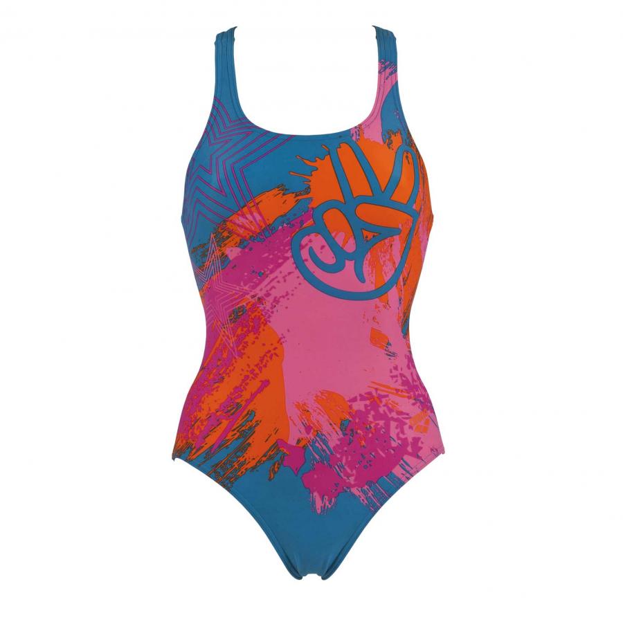 Arena Woodstock Blue Ladies Swimming Costume