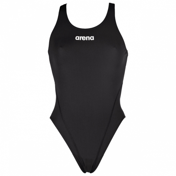 Arena 'Solid Tech' High Leg Black Swimsuit