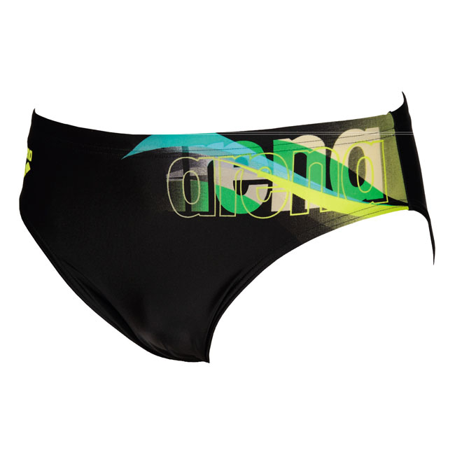 Mens Fogo Arena Swimming Brief - Black / Soft Green