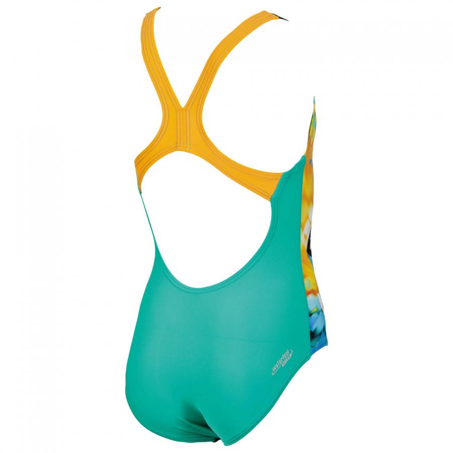 Arena Brasil Girls Swimsuit - Green / Orange