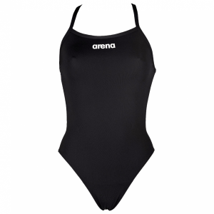Arena 'Solid Light Tech' High Leg Black Swimsuit