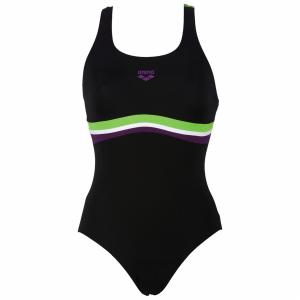 Arena Prestige Swimming Costume - Black / Green