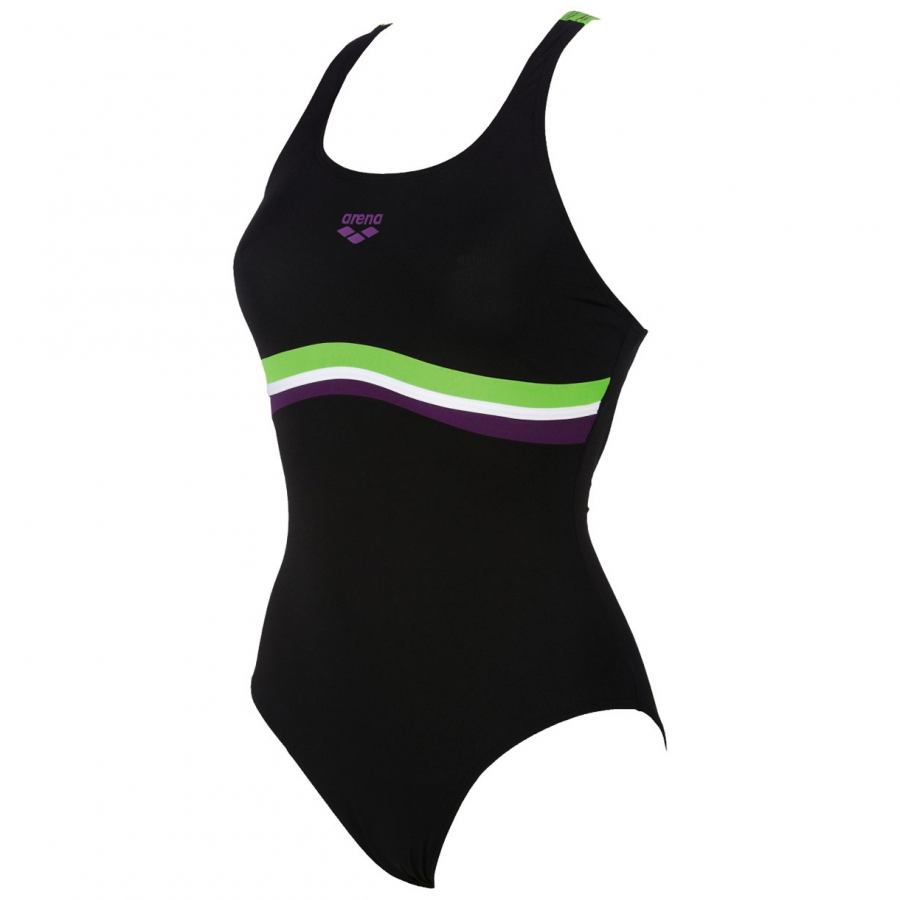 Arena Prestige Swimming Costume - Black / Green