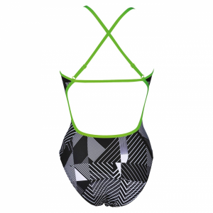 Arena Optical Ladies High Leg Swimsuit - Black / White / Green