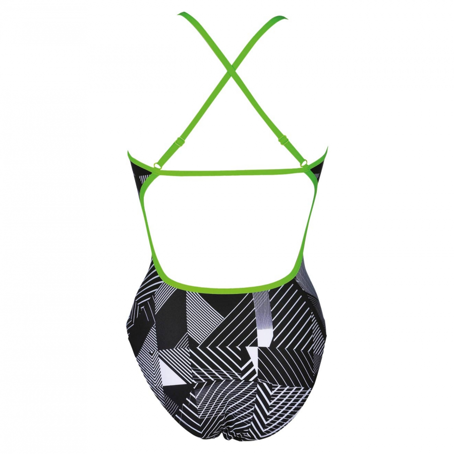 Arena Optical Ladies High Leg Swimsuit - Black / White / Green