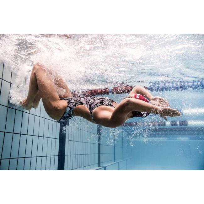 Arena Glitch High Leg Ladies Swimsuit - Black / Bue