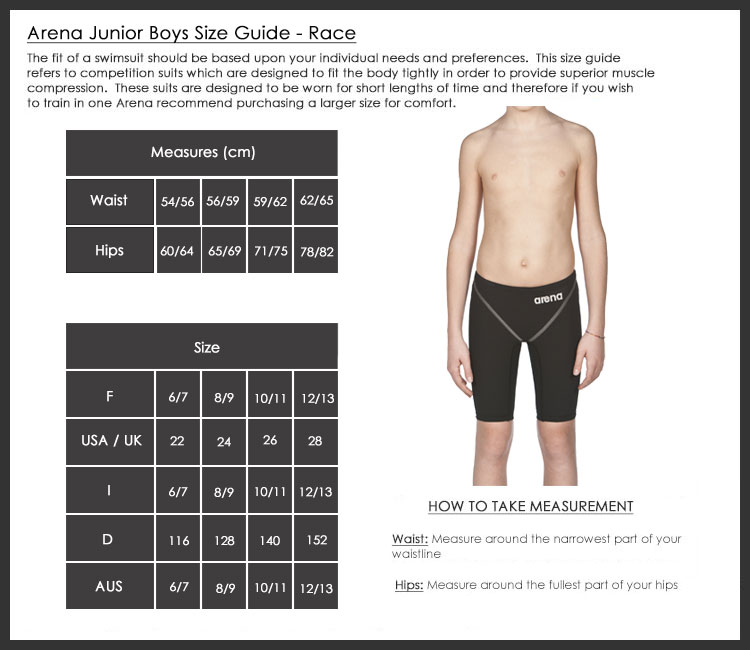 57567483ad666 Arena Boys Race Jammers Size Chart