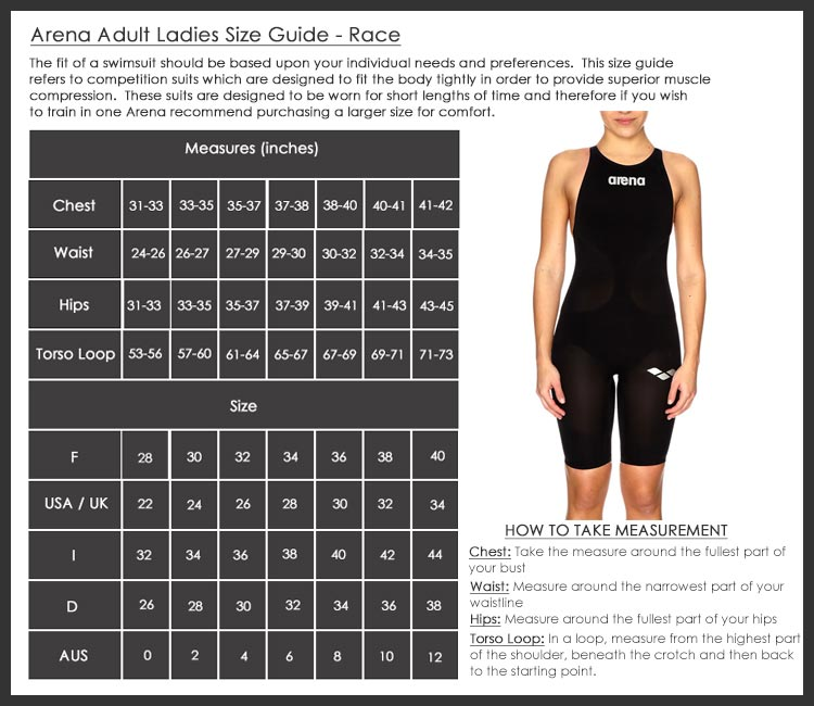 Arena Ladies Race Swimwear Size Chart