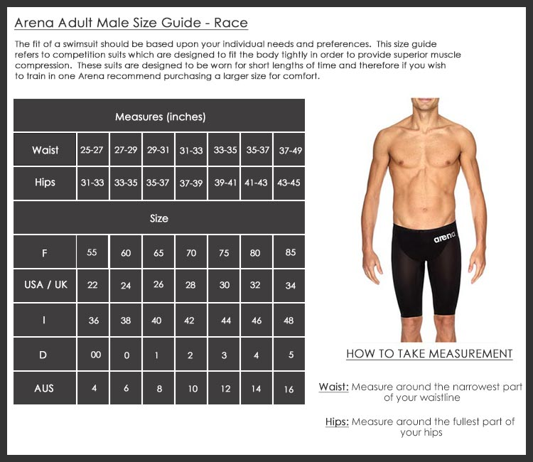 Arena mens race size chart
