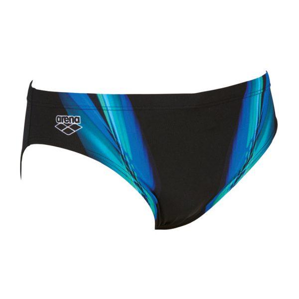 Arena Mens Black Blue Iridiscent Swim Brief