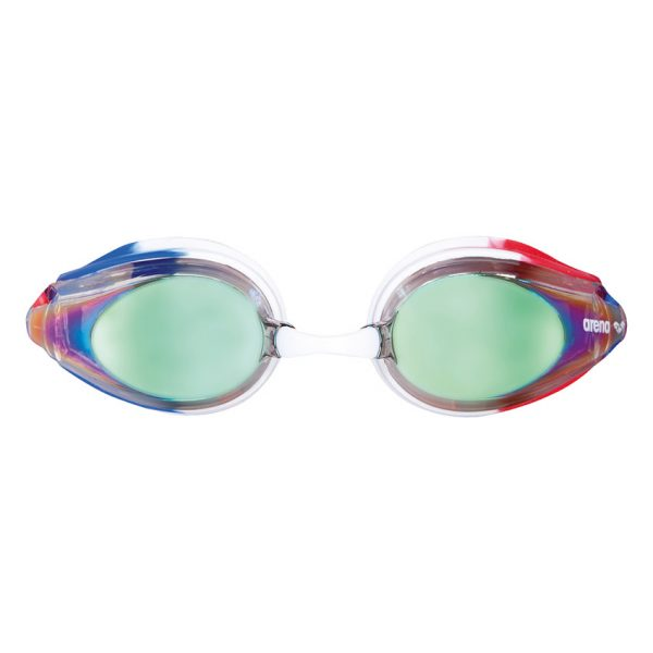 Arena Gold Blue Red Tracks Mirror Racing Goggles